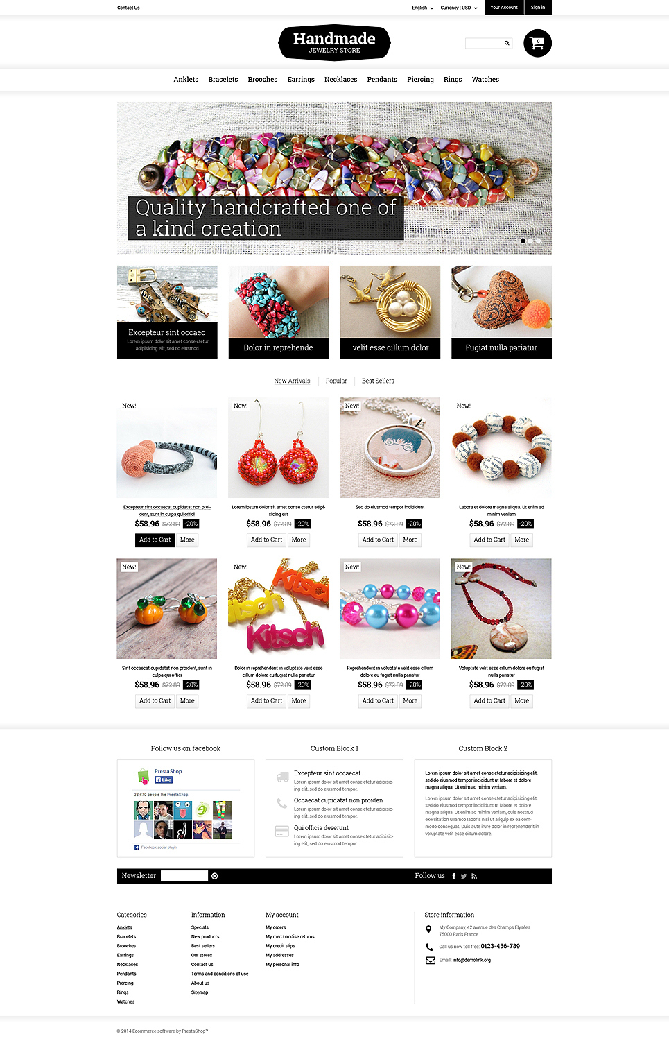 Handmade Jewelry (PrestaShop theme) Item Picture