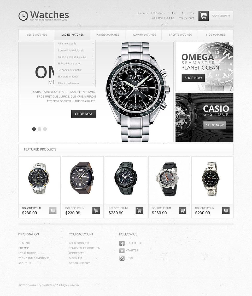 Luxury Watches (ecommerce theme for PrestaShop) Item Picture