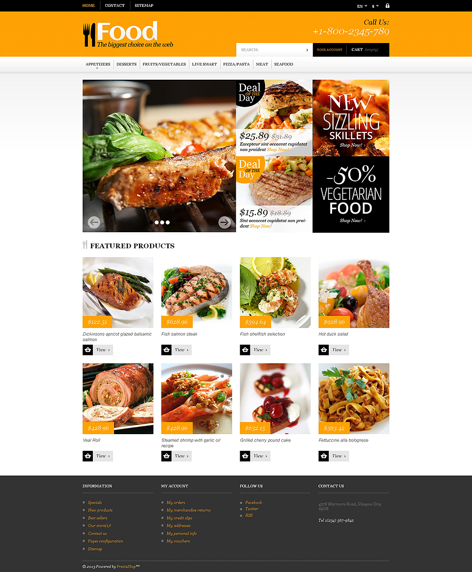 Online Orders of Meals (ecommerce theme for PrestaShop) Item Picture