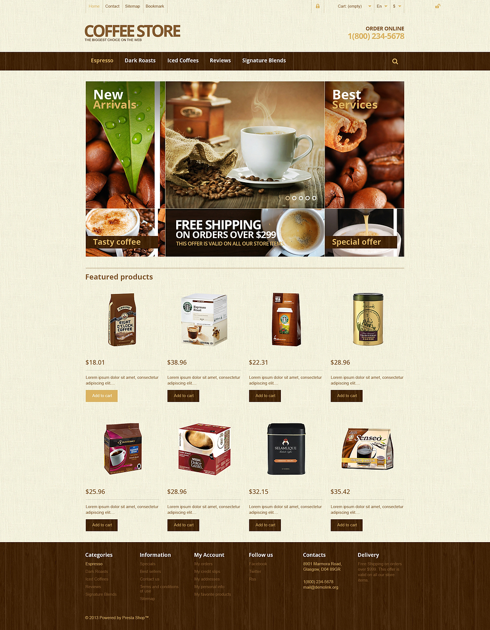 Responsive Coffee Store (template for PrestaShop) Item Picture