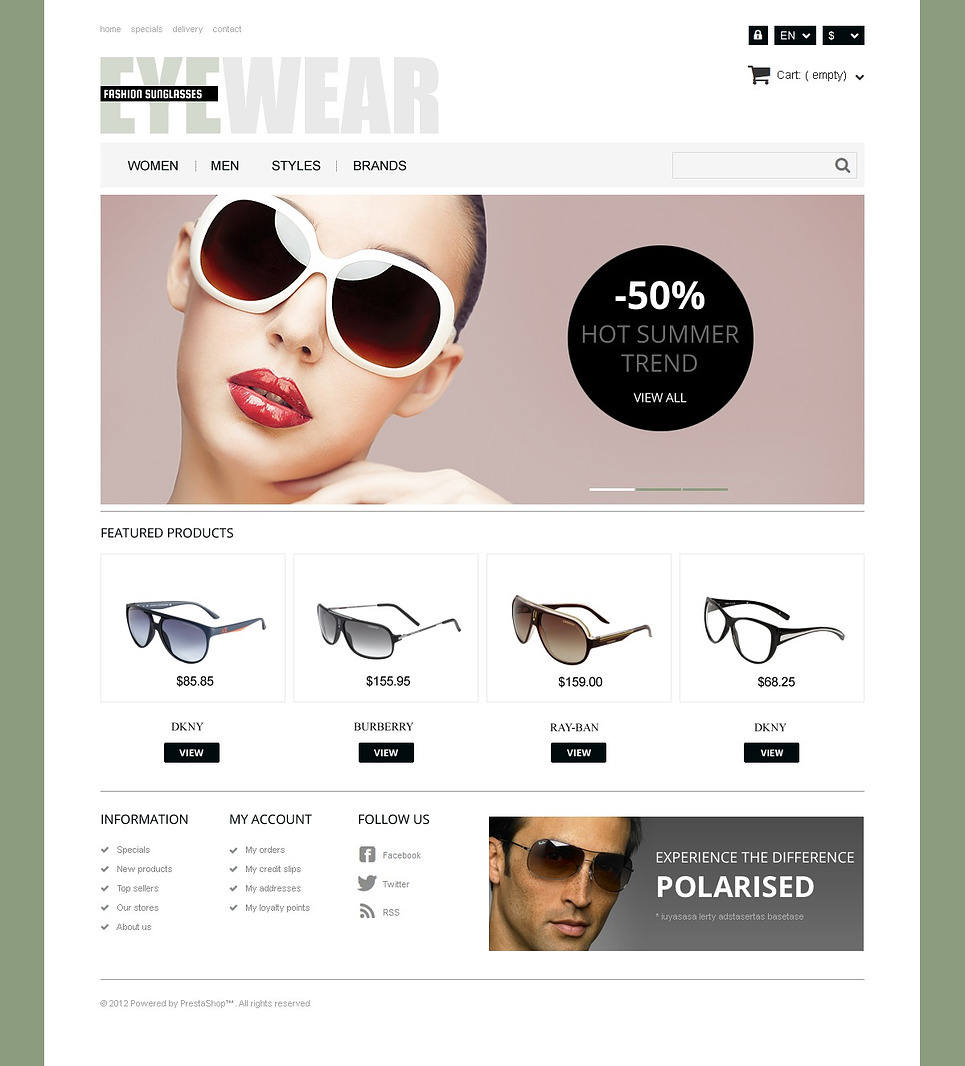 Responsive Eyewear Store (template for PrestaShop) Item Picture