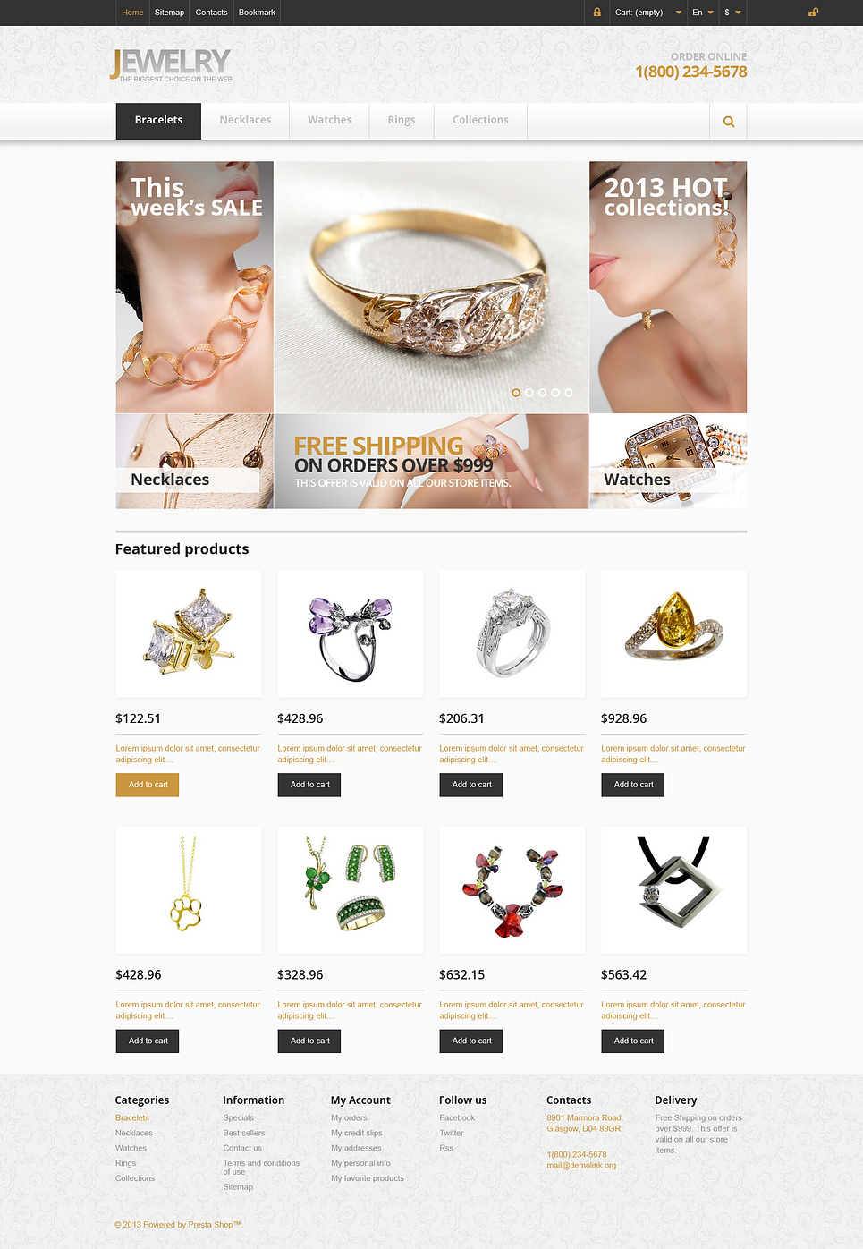 Responsive Jewelry Store (PrestaShop theme) Item Picture