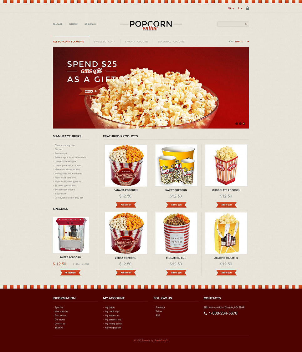 Responsive Popcorn Store (ecommerce theme for PrestaShop) Item Picture