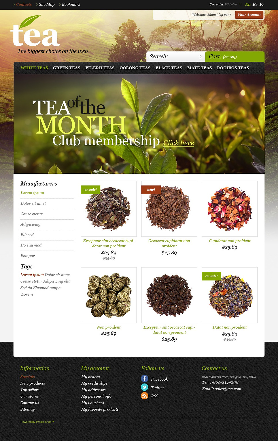 Tea Island (template for PrestaShop) Item Picture