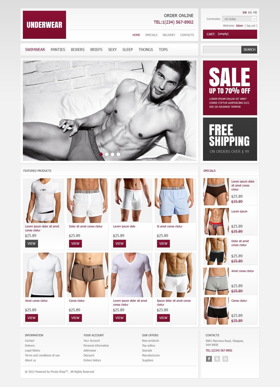 Underwear Store PrestaShop Theme (template for PrestaShop) Item Picture