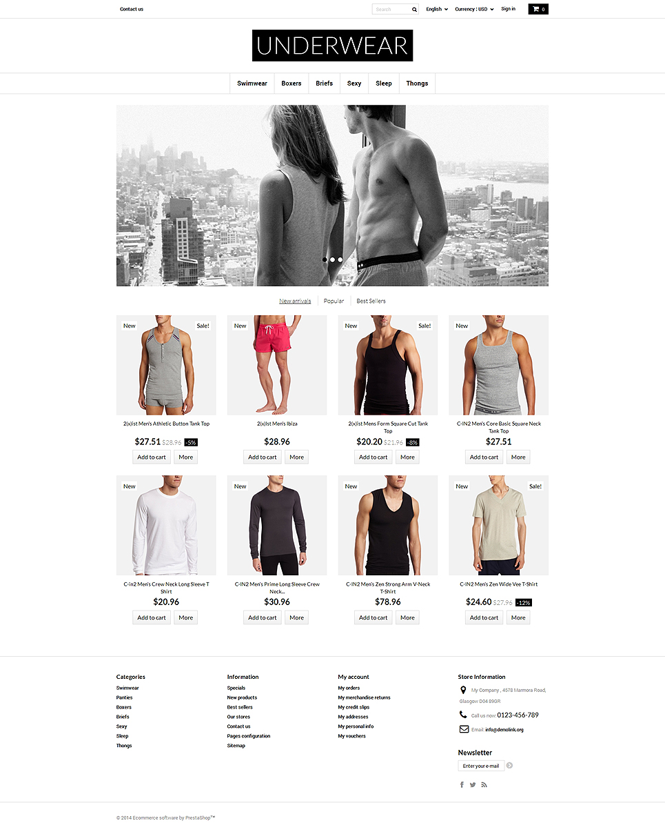 Underwear for Men PrestaShop Theme (template for PrestaShop) Item Picture
