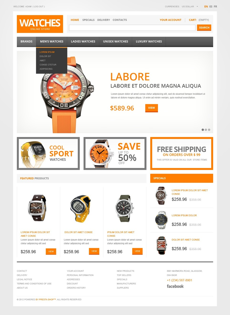 Watch Store (ecommerce theme for PrestaShop) Item Picture