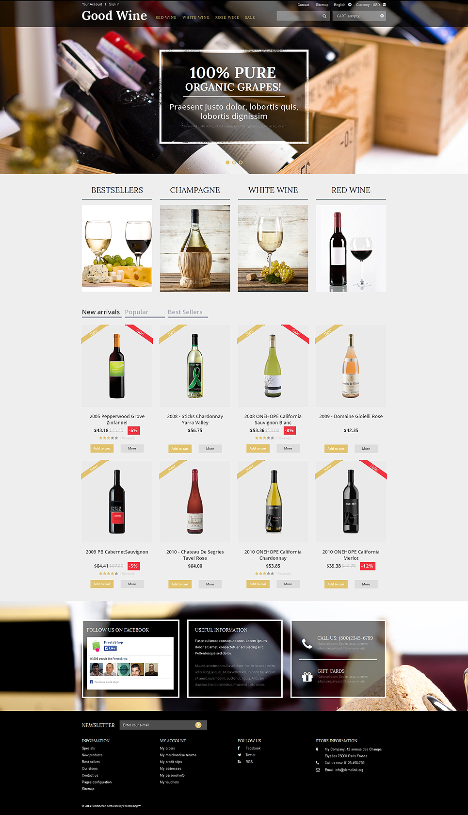 Wine of Superior Quality (ecommerce PrestaShop template) Item Picture