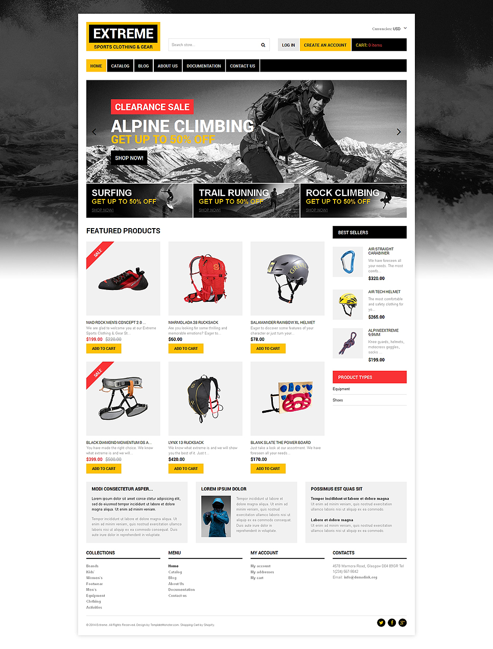 Extreme Sports Shop (theme for Shopify) Item Picture