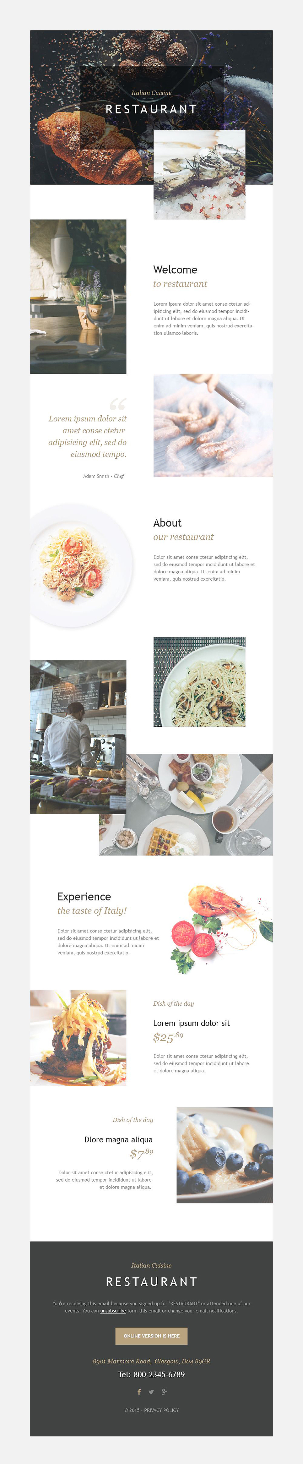 Italian Restaurant (newsletter template) Item Picture