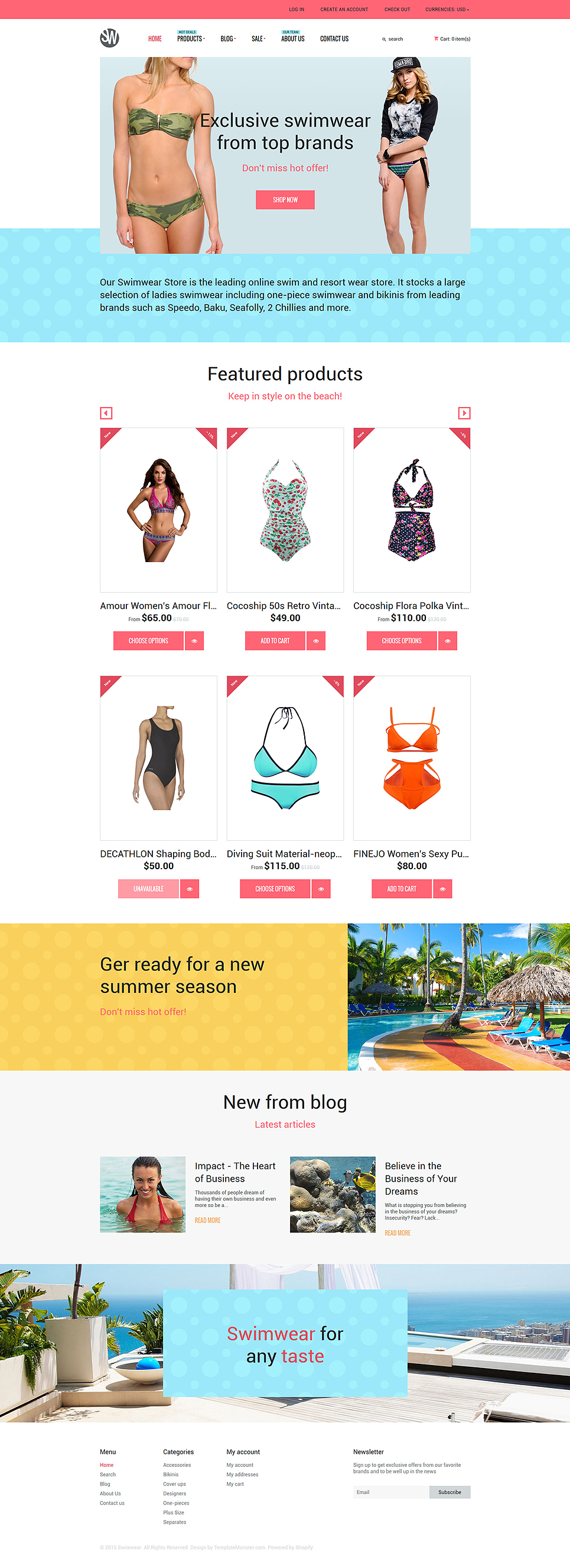 Swimwear Store (Shopify theme for ecommerce sites) Item Picture