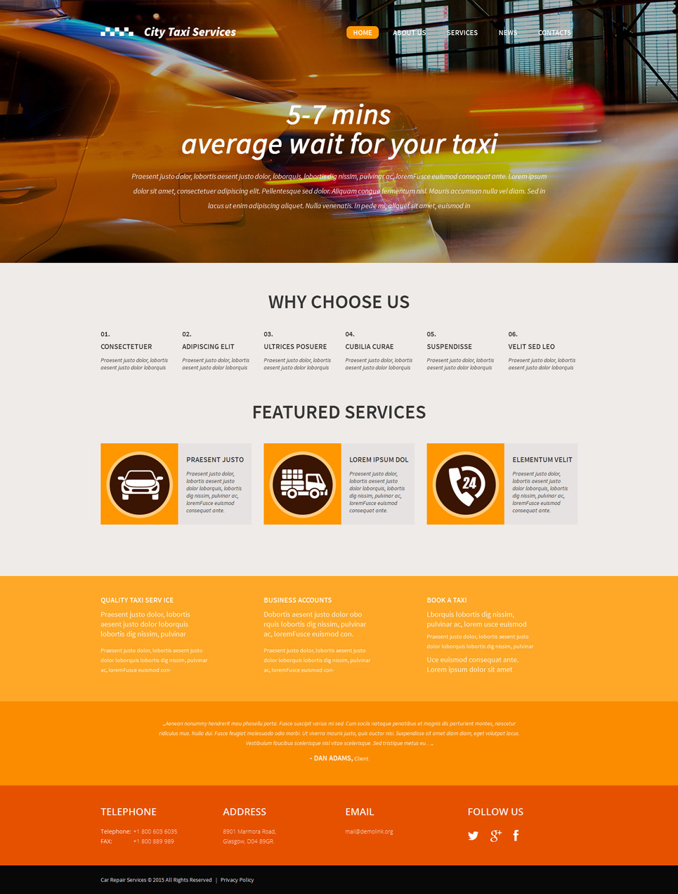 City Taxi Services (WordPress template) Item Picture