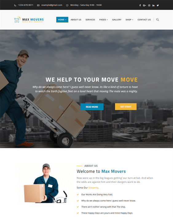 wordpress themes movers moving companies