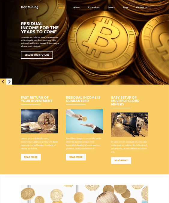 bitcoin cryptocurrency joomla templates