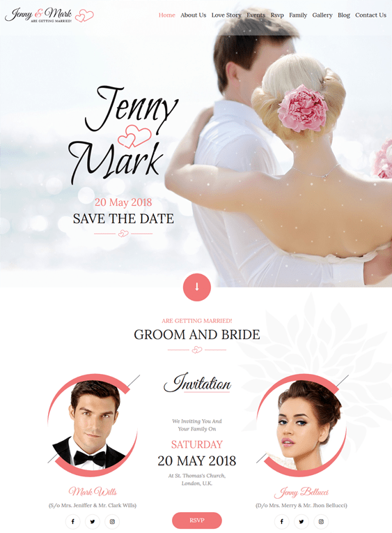 Bootstrap Wedding Website Templates