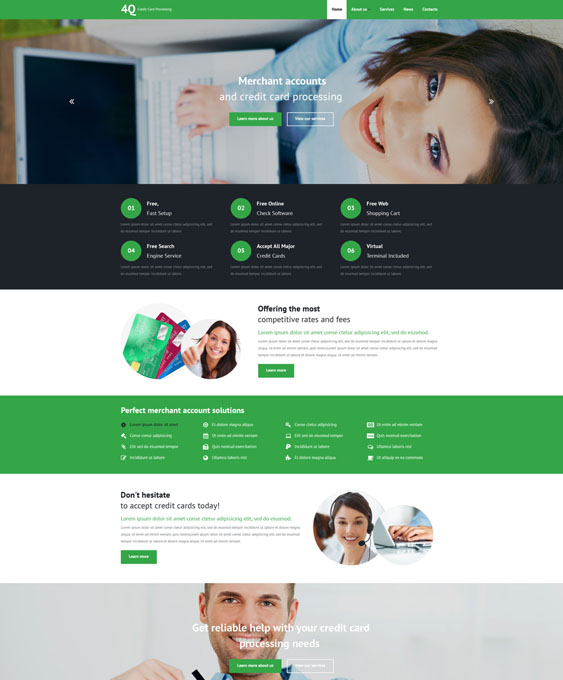 bank bootstrap website templates