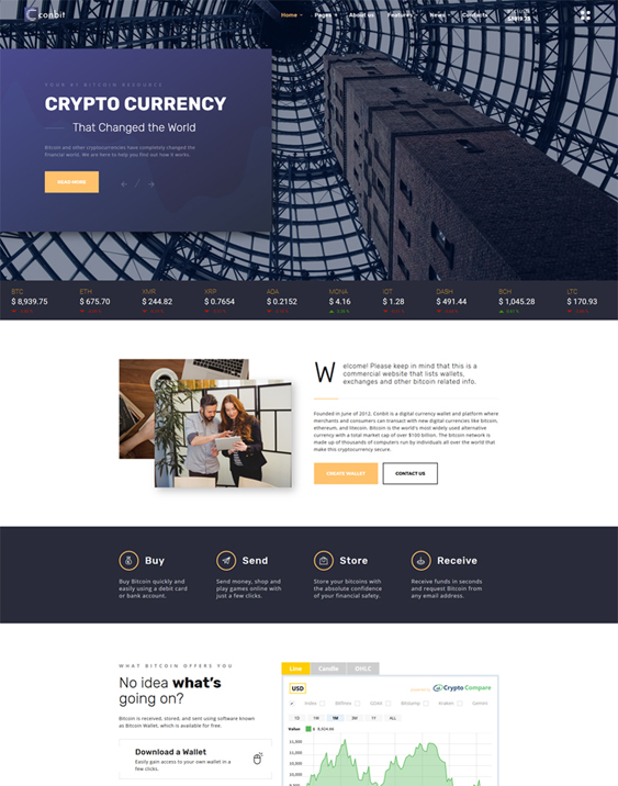 bootstrap website templates bitcoin cryptocurrency