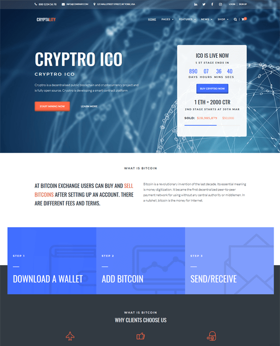 bitcoin cryptocurrency wordpress theme