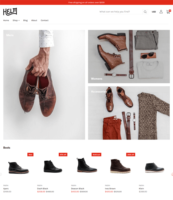 shopify themes selling shoes footwear