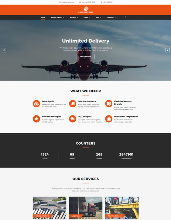 bootstrap website templates logistics transportation companies