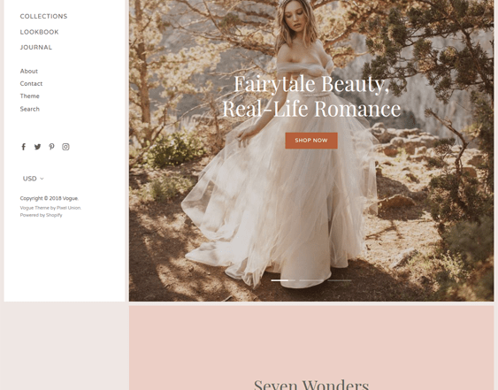 best wedding bridal shopify themes feature