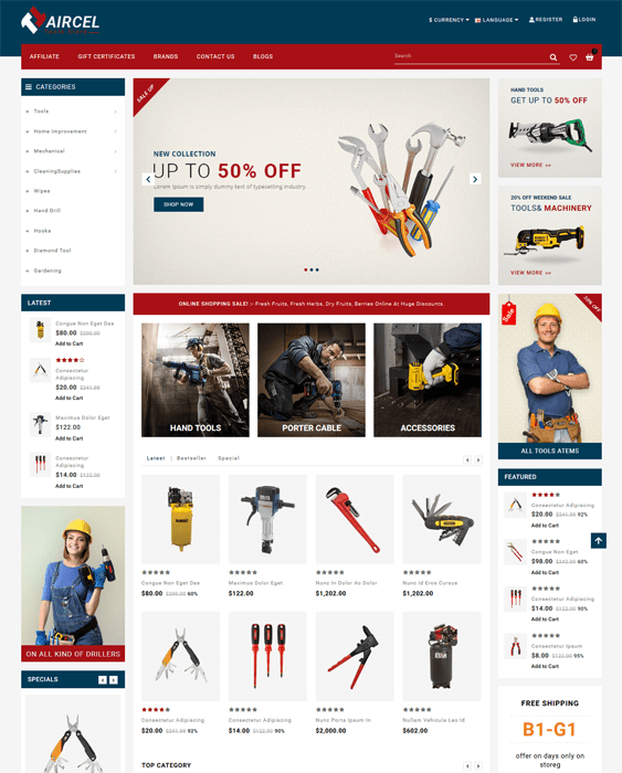 opencart themes tool hardware stores