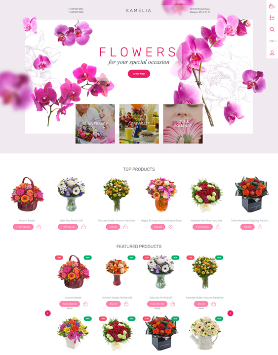 shopify themes selling plants flowers