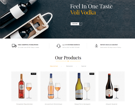 best opencart themes for selling wine feature