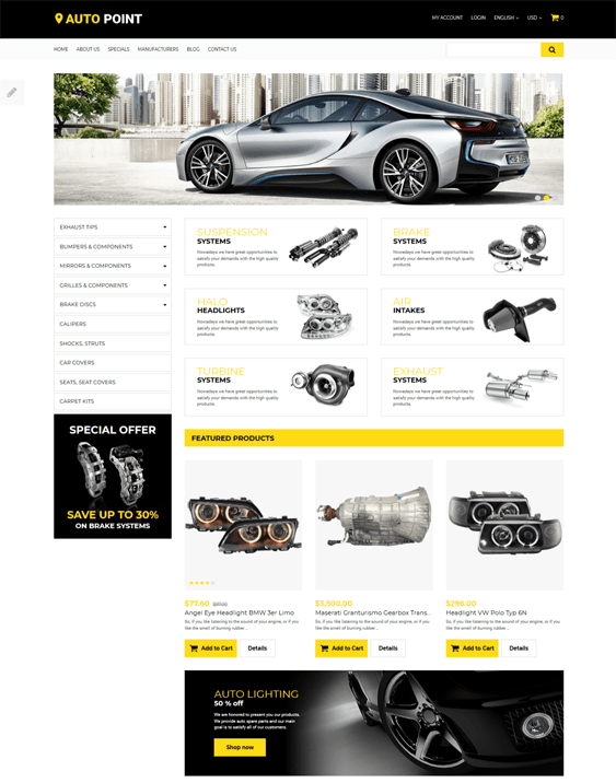 best opencart themes car vehicle automotive stores feature