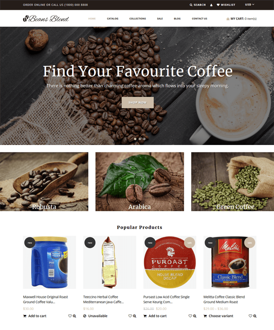 shopify themes for selling drinks and beverages