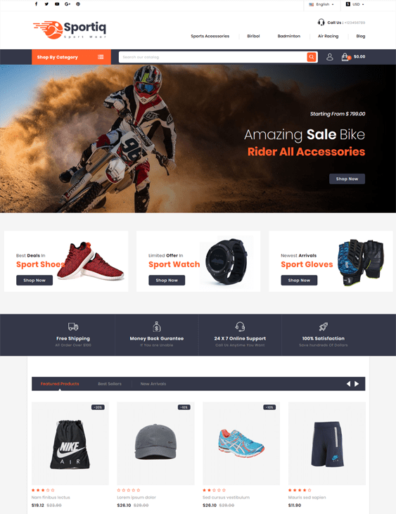 prestashop themes for sports stores