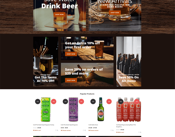 best shopify themes for selling drinks beverages wine coffee tea alcohol feature
