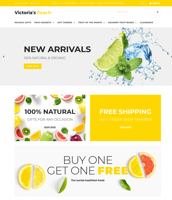 shopify themes for selling food and groceries