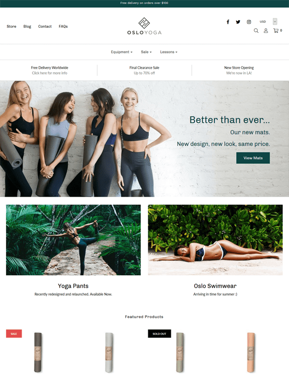 shopify themes for workout clothing athleisure wear