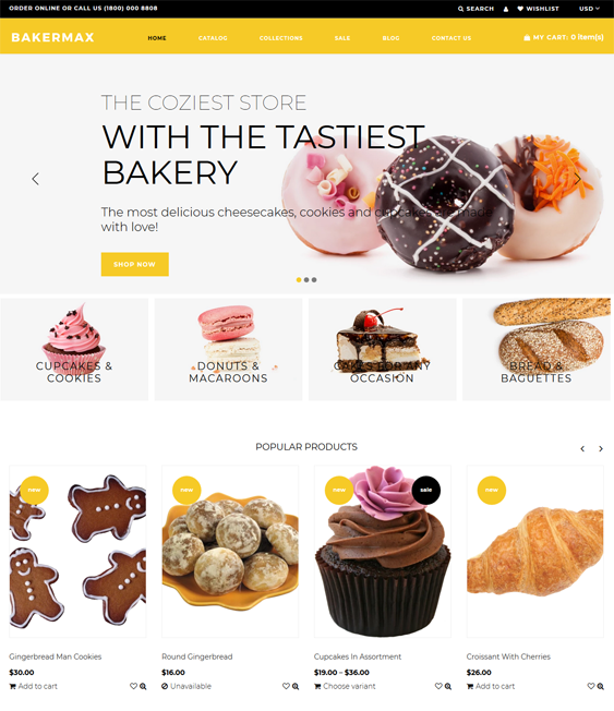 bakery shopify themes for selling cakes cookies bread