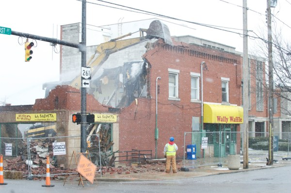 The Hallinan Building was demolished March 2, 2013. Constructed in about 1913, it was most recently home to United Vacuum Cleaner and Wally Waffle.