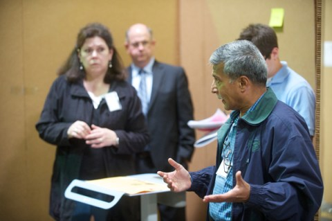 Dr. Anand Kantak, director of neonatology at Akron Children's, brings up points about the design concepts.