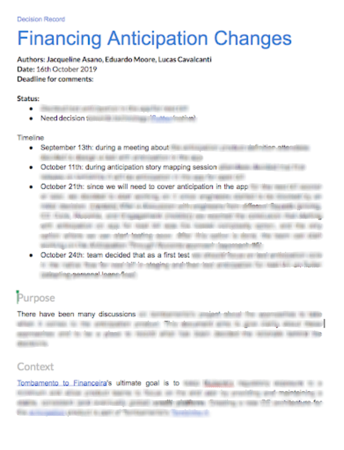 Decision record document example