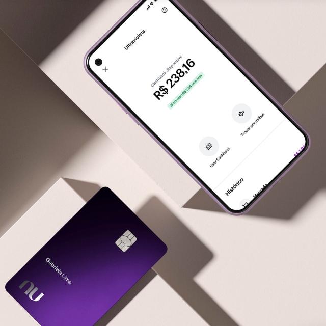 The purple metalic Nubank Ultravioleta credit card and its app.