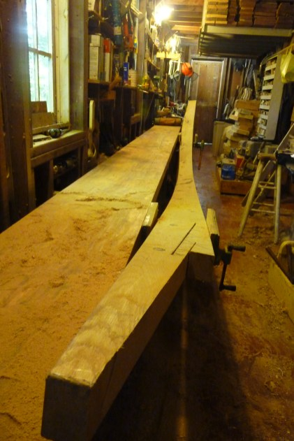 Hooked scarf joint being cut with circular saw, hand saw, block plane and chisels