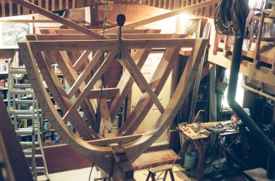 "The inner faces of all frames receive the same bevel angle as the outer face, since this boat will also have planking on the inside. Inner planking is called ""ceiling"" on a boat. Lion's will be 1 inch thick."