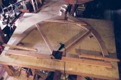 The strongback can''t be added until after the frame bevels and keel joint are cut. To keep the bottom ends stable while turning and moving the frame, a temporary brace is used