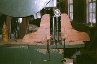 "A jig set up to resaw the 1"" cedar boards"