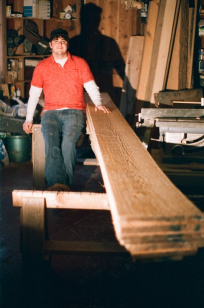 "Josh with some of the beautiful 1"" white cedar from Castner's Sawmill"
