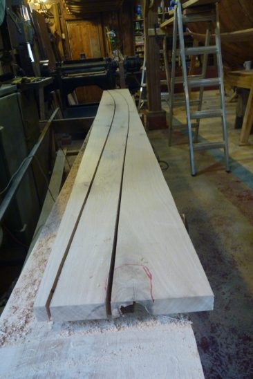 We don't have many clear, natural-crook boards. So most planks were sawn from straight-grained stock and worked in between defects.