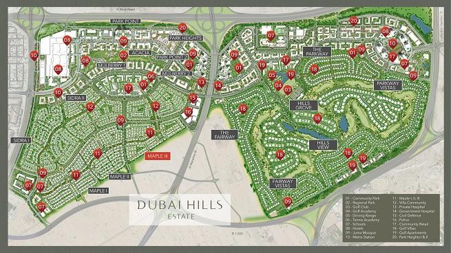 Maple III - Dubai Hills Estate by Emaar- Location Map
