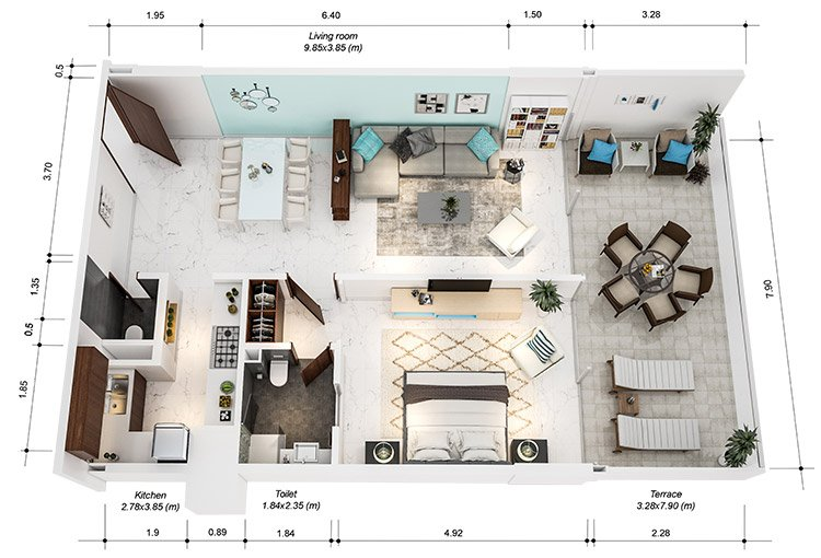 Azure Residences at Palm Jumeirah by Nakheel - FP-1bed-Type D