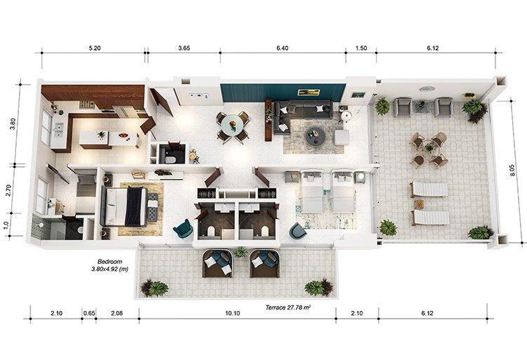 Azure Residences at Palm Jumeirah by Nakheel - FP-2bed-Type B