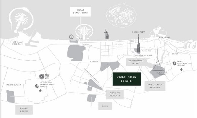 Dubai Hills Estate by Emaar - Location Map