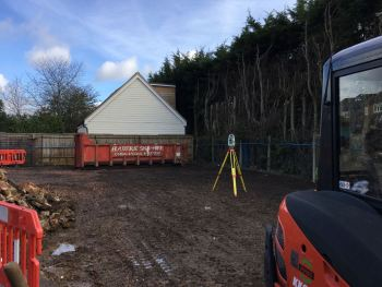Surveyors setting out the site